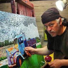 "Painting in the Studio the ""Saint Vasilios Village Old Truck"" canvas - Photography. Spyridon Kavvadas Pallet Knife Oil Painter. Tags: #kavvadasart #spyridonkavvadas #kavvadas #kavadas #impressionism #impressionists #palletknife #palletknifepainting #art #artist #modernart #contemporaryart #artworld #greekart #greekpainters"