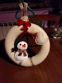 Ghirlanda di Natale con pupazzo di neve