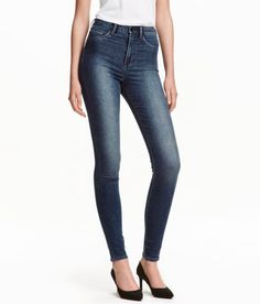Check this out! Jeggings in washed superstretch denim with a high waist. Mock front pockets, regular back pockets, and skinny legs. - Visit hm.com to see more.