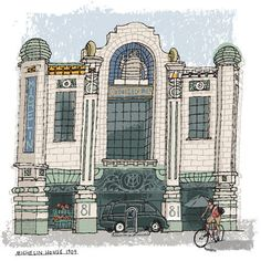 paulrogersstudio Sketchbook Drawing for an article about Los Angeles bookstores, LA Times