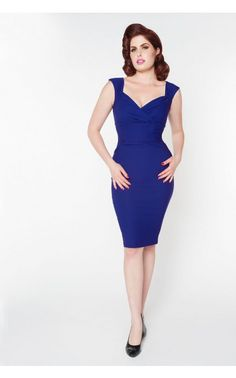 Pinup Coutur- Erin Dress in Royal Blue Bengaline | Pinup Girl Clothing