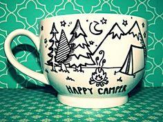 Coffee Mug Happy Camper Large18oz Hand drawn by WholeWildWorld on Etsy, $16.00 gift