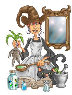 witch.quenalbertini: Halloween witch cooking with mandrake!