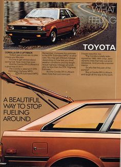 toyota corolla liftback 2 door ad My first car Classic Japanese Cars, Classic Cars, Toyota Corolla, Corolla Ke70, Toyota Hiace, Car Brochure, Japan Cars, Toyota Cars, Car Advertising
