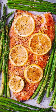 Lemon Pepper Garlic Rainbow Trout and Asparagus baked on a sheet pan in the oven. Healthy, low-carb, gluten free, keto-friendly recipe, packed with healthy omega 3 fatty acids. Easy and quick - only 30 minutes from start to finish! Trout Recipes Oven, Trout Fillet Recipes, Salmon Recipes, Lake Trout Recipes, Cabbage Recipes, Rainbow Trout Recipe Baked, Rainbow Trout Recipes, Steelhead Trout Recipe Baked, Baked Trout Fillet
