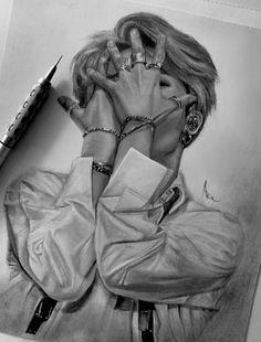 Kpop Drawings, Cool Art Drawings, Realistic Drawings, Art Drawings Sketches, Bts Photo, Foto Bts, Jimin Fanart, Bts Aesthetic Pictures, Bts Chibi
