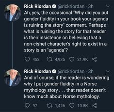 Rick Riordan is great person Pride Percy Jackson Memes, Percy Jackson Books, Percy Jackson Fandom, Solangelo, Percabeth, Alex Fierro, Trials Of Apollo, Magnus Chase, Rick Riordan Books