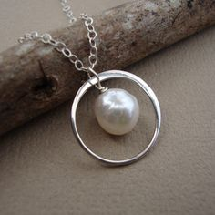 Tiny Circle and Akoya Pearl Necklace - All Solid Sterling Silver - Bridal Necklaces, Wedding, Bridal Favors, Dainty Elegant. $28.00, via Etsy.