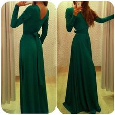 Womens Emerald Long sleeve Prom Ball Cocktail Party Dress Formal Evening Gown #Unbranded #Maxi #Cocktail
