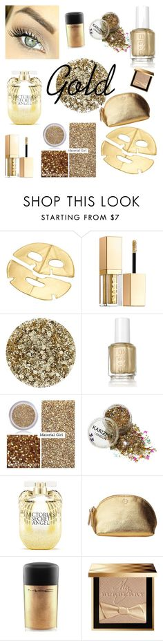 """gold"" by savannah25faith ❤ liked on Polyvore featuring beauty, Stila, Smith & Cult, Essie, Material Girl, Victoria's Secret, Tory Burch, MAC Cosmetics and Burberry"