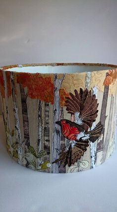 Reserved listing Three Robins in flight lampshade, embroidered robin lampshade, standard lampshade, table lampshade, British garden bird Free Motion Embroidery, Embroidery Patterns, Machine Embroidery, Sewing Crafts, Sewing Projects, Handmade Lampshades, Fabric Pictures, Textiles, Creative Embroidery