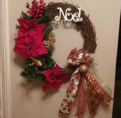 Check out this item in my Etsy shop https://www.etsy.com/listing/256665944/christmas-poinsettia-grapevine-wreath