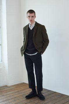 Mod Fashion, Minimal Fashion, Worker Boots, Margaret Howell, Harris Tweed, Off Black, Men Looks, Black Cotton, Mens Suits