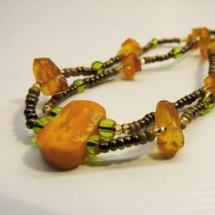 Amber Double-Strand Choker Necklace £6.29 - Beautiful beaded chokers - UNIQUE ONE OF A KIND JEWELLERY DESIGNS - Available now - https://www.etsy.com/listing/221706596/amber-double-strand-choker-necklace-only?ref=shop_home_active_5