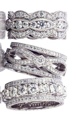 #Tacori wide diamond bands. Twist rings and three row of diamonds. Amazing wedding bands or right hand rings. by AislingH