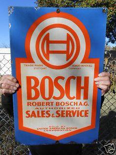 Vintage Automotive Metal Porcelain Sign Bosch 2 sided ca.1930's/40's