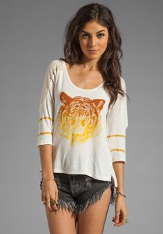 """FREE PEOPLE The """"O"""" Tee in Ivory Combo"""