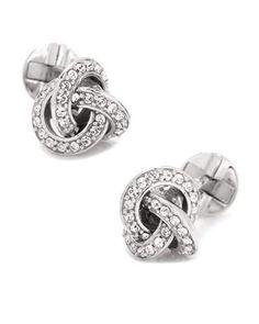N5BMC Cufflinks Inc. Crystal-Inset Love Know Cuff Links