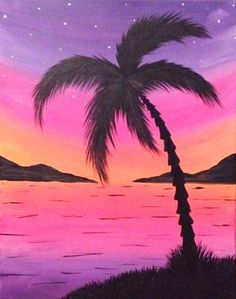 "May 2016 Featured Painting: ""Sunset Palm III"" by Hudson Valley artist Kayla Corona."