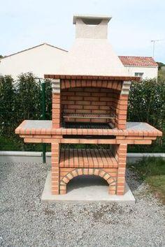 Portuguese Brick BBQ piece for your. Outdoor Bbq Kitchen, Outdoor Barbeque, Outdoor Kitchen Design, Garden Bbq Ideas, Outdoor Garden Sheds, Barbeque Design, Bbq Chimney, Brick Grill, Stone Bbq