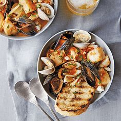 As language morphs through time and locale, so does food. Yes, this fish stew has roots in Italy, but it is a distinctly San Franciscan treat. Italian Seafood Stew, Little Neck Clams, Fish Stew, Crushed Red Pepper, Crab Meat, Halibut, Scallops, The Dish, Bon Appetit