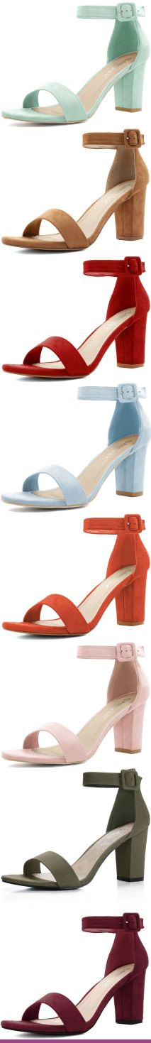Open Toe Chunky High Heel Ankle Strap Sandals Multiple Colors