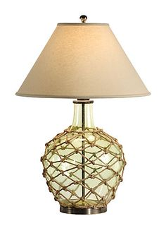 Nautical Rope and Glass Ball Table Lamp Nautical rope Glass and
