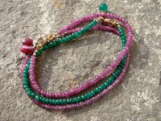 Single Strand Stacking Bracelets in Emerald, Pink Sapphire, and Ruby and Pink Sapphire