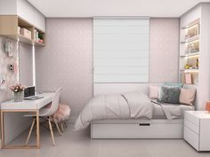 Bed For Girls Room, Bedroom Decor For Teen Girls, Room Ideas Bedroom, Small Room Bedroom, Bedroom Layouts, Home Decor Bedroom, Girl Room, Modern Teen Bedrooms, Tiny Bedroom Design