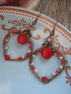 sweet wire wrapped heart earrings with red coral and by Lirimaer, $27.00
