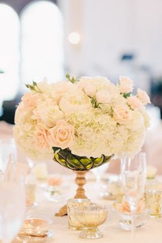 Peach Rose and Hydrangea Reception Arrangement | photography by http://erinheartscourt.com/blog/