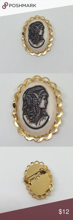 """Vintage Cream and Brown Grecian Cameo Pin A vintage cameo set in a new gold setting. A mix of old and new. A cream and brown cameo depicting a Grecian woman, about 1"""" x .75"""", set into a new pin setting. Vintage Jewelry Brooches"""