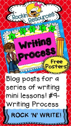 Free Writing Process Posters for primary and upper elementary found on this blog along with amazing ideas on how to implement each step!  Designed by Rockin Resources