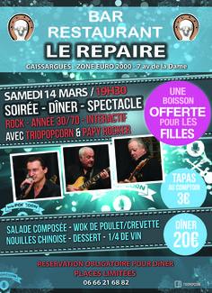 """Dîner spectacle - Bar restaurant """"Le Repaire"""" - Caissargues - Gard - show pop/rock interactif du groupe de musique Nîmois triopopcorn"""