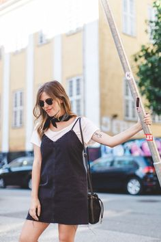 Wearing a denim slip dress on our second day in Copenhagen, Denmark. Slip Dress Outfit, Dress Outfits, Fall Outfits, Casual Outfits, Fall Dresses, Carrie, Casual Looks, Carry On, Spring Fashion