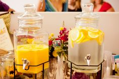 Drink Station: Glass beverage dispensers made for a cute display.  Source: Kio Kreations