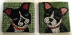 Boston Terrier Puppy Twin Porcelain Mosaic Tile Coasters via Etsy.