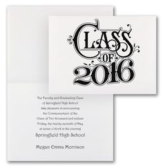 Grad Shine on White Graduation Announcement