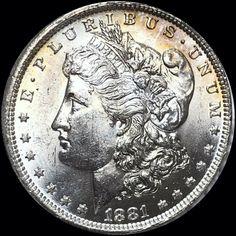 Morgan Silver Dollar Silver Coin, Nice Lustrous Blazer, Sharp Near Gem BU Silver Dollar Coin, Morgan Silver Dollar, Silver Coins, Coin Books, Cartwheel, Proof Coins, Rare Coins, Blazer, Coin Collecting