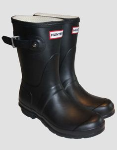 Black, low Hunter boots.