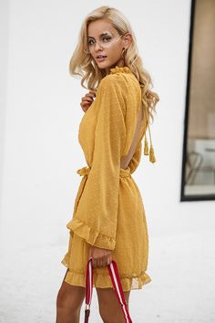 $43.68 - Nice Simplee Lace up backless mesh dress women Elegant stringy selvedge sash mini dress Fashion long flare sleeve dresses vestidos - Buy it Now!