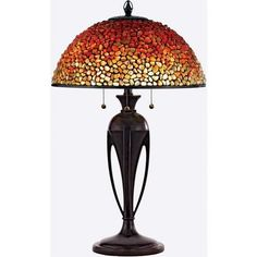 Beautiful Tiffany inspired shade! Quoizel Lighting Table Lamp with Multi-Colored Glass in Burnt Cinnamon Finish | TF135TBC | Destination Lighting