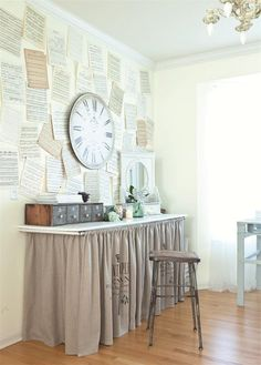 Skirted desk. If we canned the built-in completely, I wonder if something like this could be created to hide my keyboard (which I love but not as a decor statement) and double as additional workspace? Thinking out loud... love that antique wooden card catalogue too