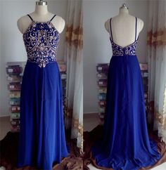 Ph07225 Royal blue Prom Dresses,Long Prom Dresses, Chiffon Prom Dresses, Spaghetti strap Prom Dresses, Backless Prom Dresses, Prom Gowns