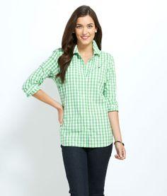Medium Gingham Shirt leafy green size 14