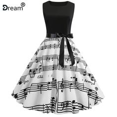 Sleeveless Note Boat Neck Vintage Polka Dot Printed Pleated Swing Bowknot Dress - Black - Size S Cute Prom Dresses, Pretty Dresses, Beautiful Dresses, Casual Dresses, Short Dresses, Sleeveless Dresses, Dresses Dresses, Teen Fashion Outfits, Fashion Dresses