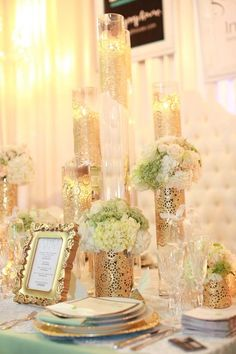 Gold Lace with Pops of Green and White TablescapeGold Lace with Pops of Green and White Tablescape
