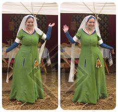 Beautiful Emilie doing a happy dance in the new dress :D The green cottehardie… Medieval Party, Medieval Costume, Medieval Dress, Medieval Fair, Historical Costume, Historical Clothing, European Clothing, Viking Clothing, Renaissance Clothing