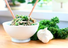 Soba Noodles and Kale with Avocado Miso Sauce