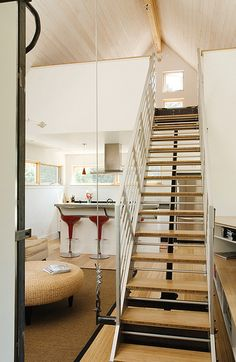 something similar for the mezzanine access?   Stairs Counter-Balanced Steel Down | Flickr - Photo Sharing!